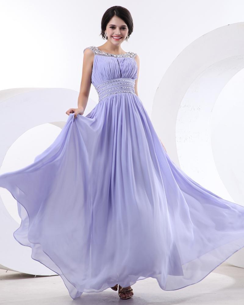 Beautiful A-Line Bateau Floor-Length Chiffon Women Cocktail Dresses