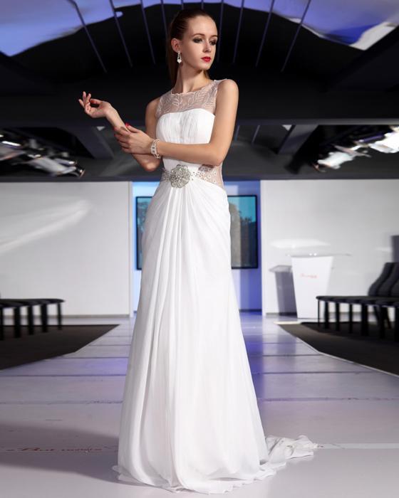 Stylish Ruffle Beaded Chiffon High Neck Floor Length Evening Dresses