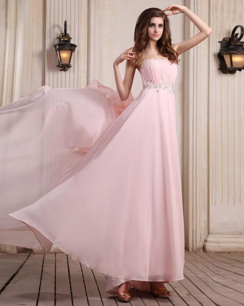 Sleeveless Chiffon Beading Ruffles Strapless Floor Length Evening Dresses