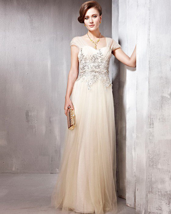 Tulle Yarn Charmeuse Lace Beading Sweetheart Floor Length Evening Dresses