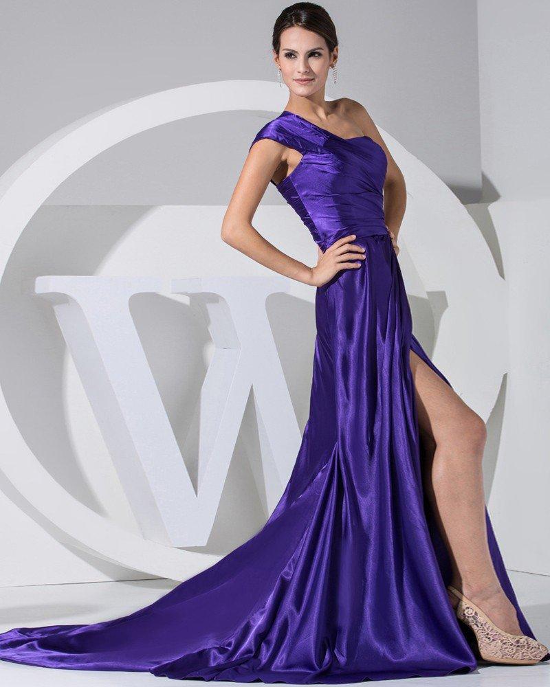 Fashion Satin Silk Pleated Court Train One Shoulder Women Evening Dress