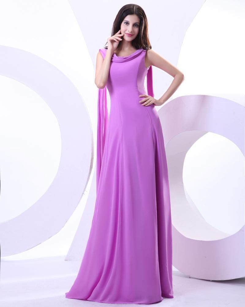 Chiffon Beading Square Neck Floor Length Prom Dresses