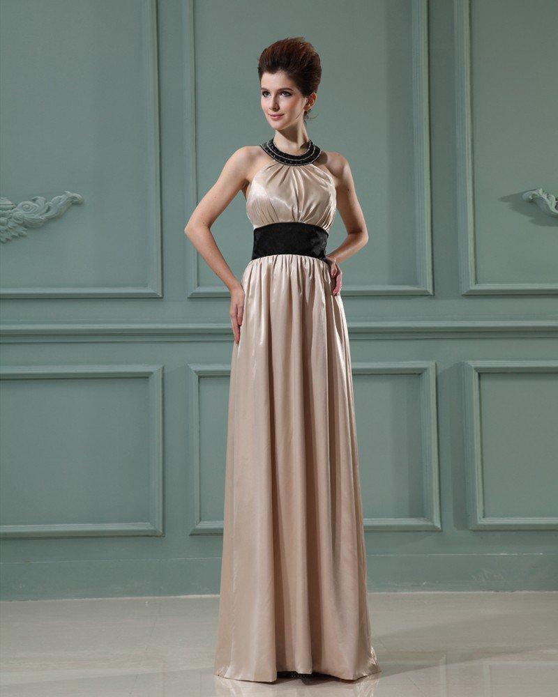 Floor Length Beading Halter Neckline Pleated Charmeuse Empire Woman Evening Dress