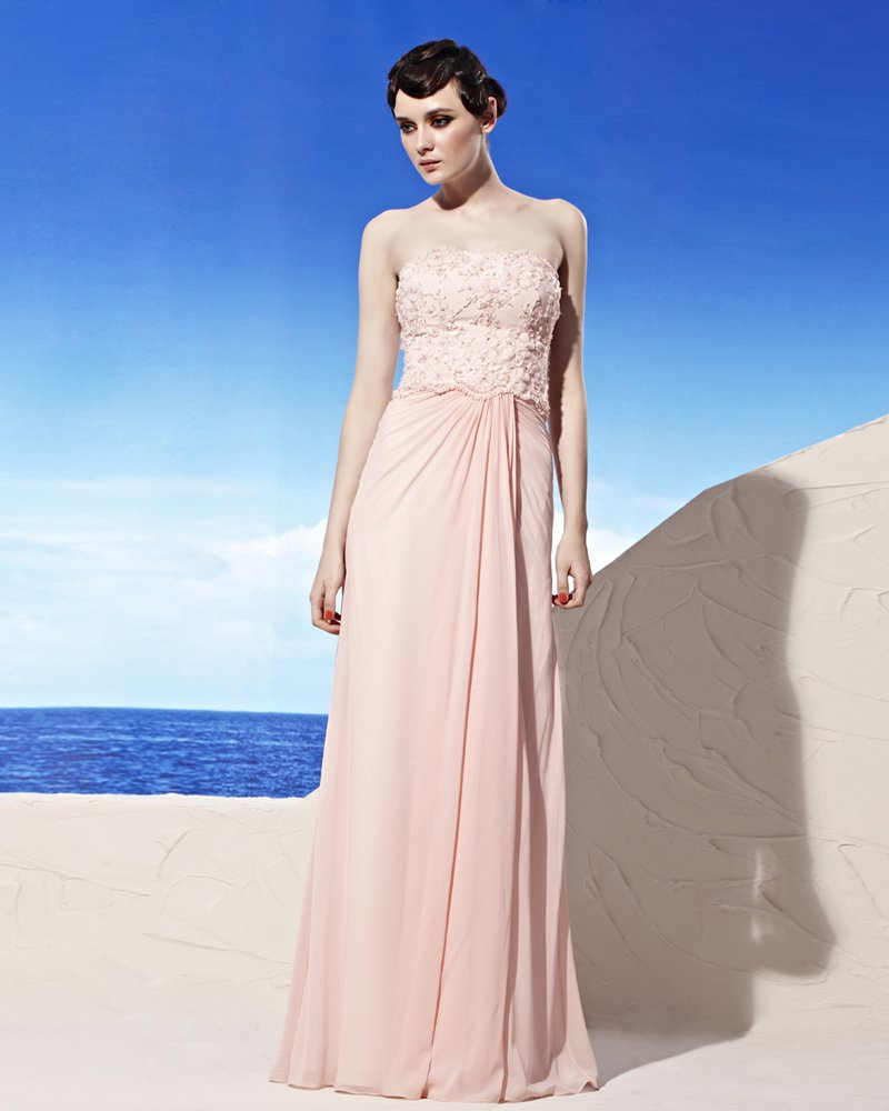 Strapless Applique Beading Sleeveless Backless Floor Length Tencel Woman Evening Dresses