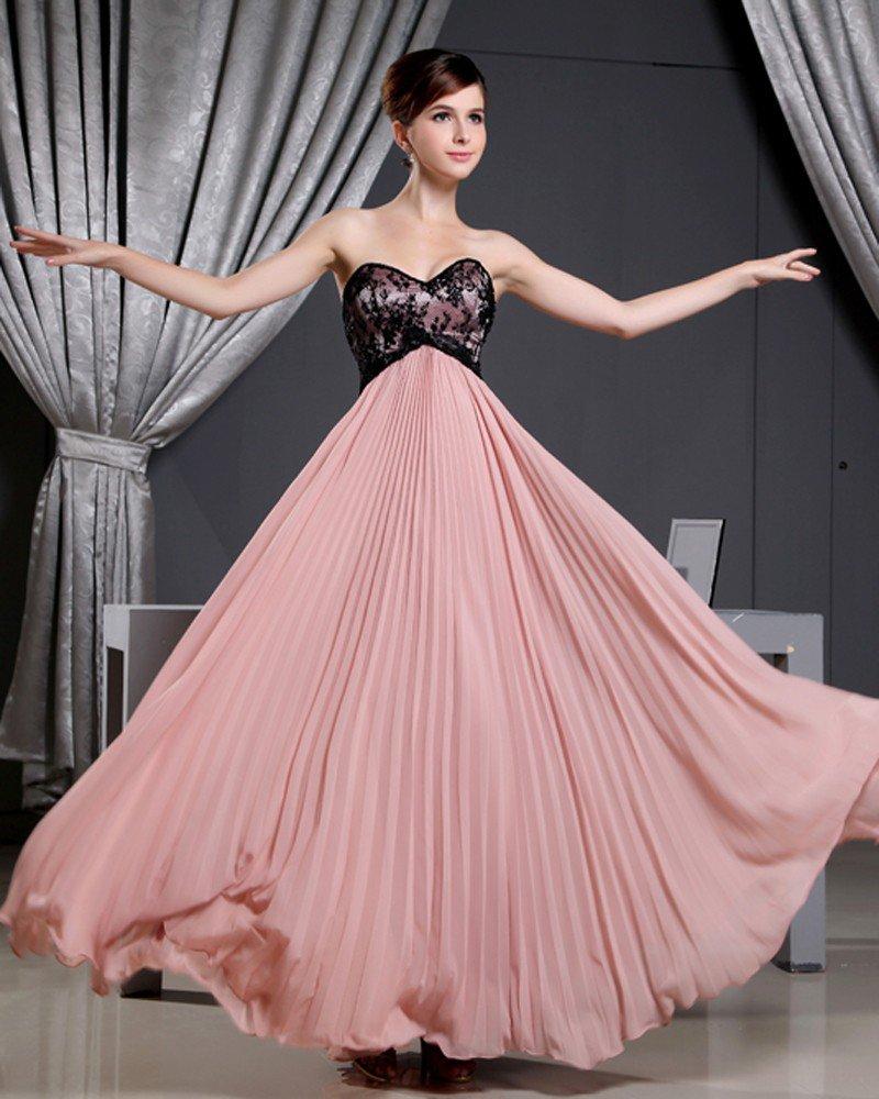Fashion Chiffon Charmeuse Silk Pleated Sweetheart Court Train Sleeveless Women Evening Dress
