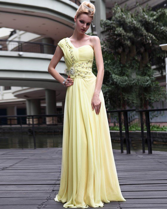 Silk Beading One Shoulder Floor Length Evening Dresses