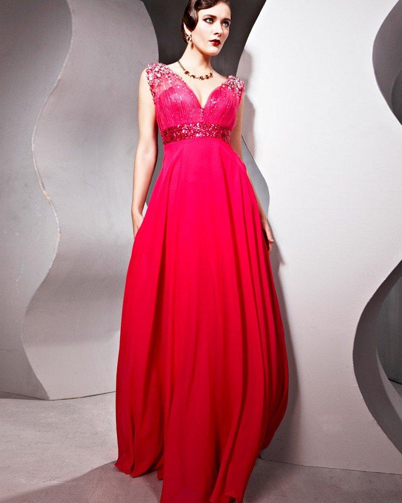 V Neck Sleeveless Backless Floor Length Chiffon Woman Evening Dresses