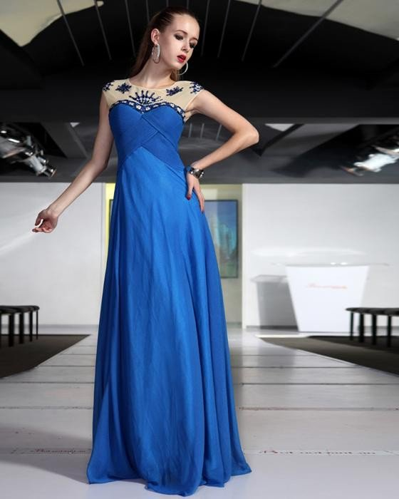Round Neck Ruffle Beaded Chiffon Floor Length Evening Dresses