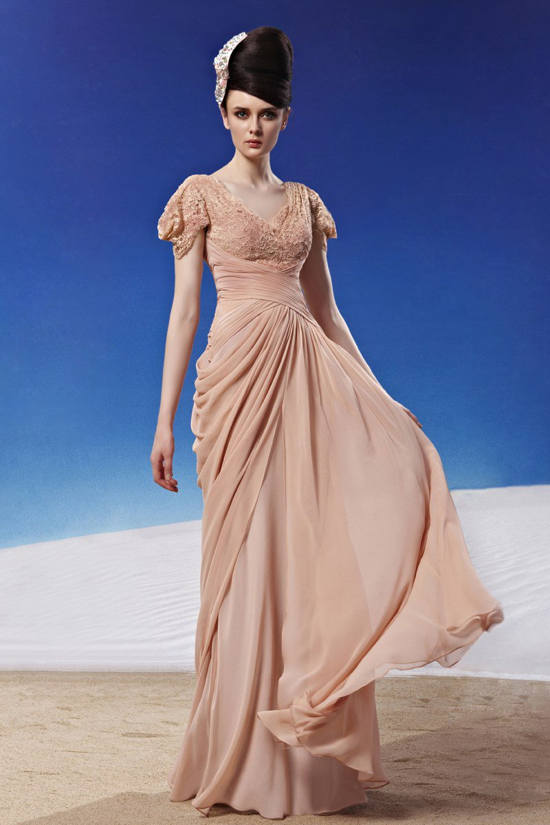 V Neck Beading Flower Floor Length Chiffon Woman Evening Dress