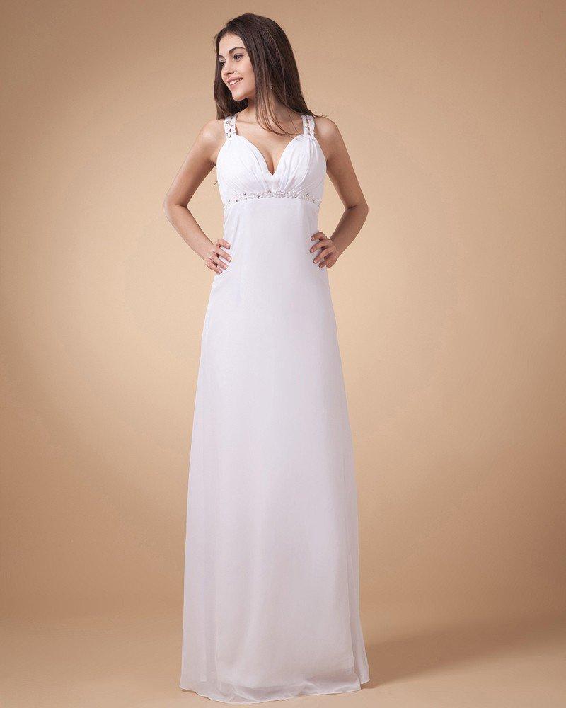 Empire V-Neck Floor Length Chiffon Applique Ruffles Women's Prom Dress