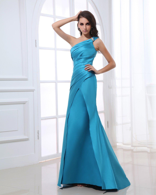 One Shoulder Sleeveless Zipper Pleated Beading Floor Length Satin Woman Evening Dress