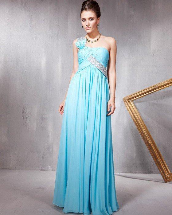 Beaded Ruffle Chiffon Charmeuse Tulle One Shoulder Floor Length Evening Dresses