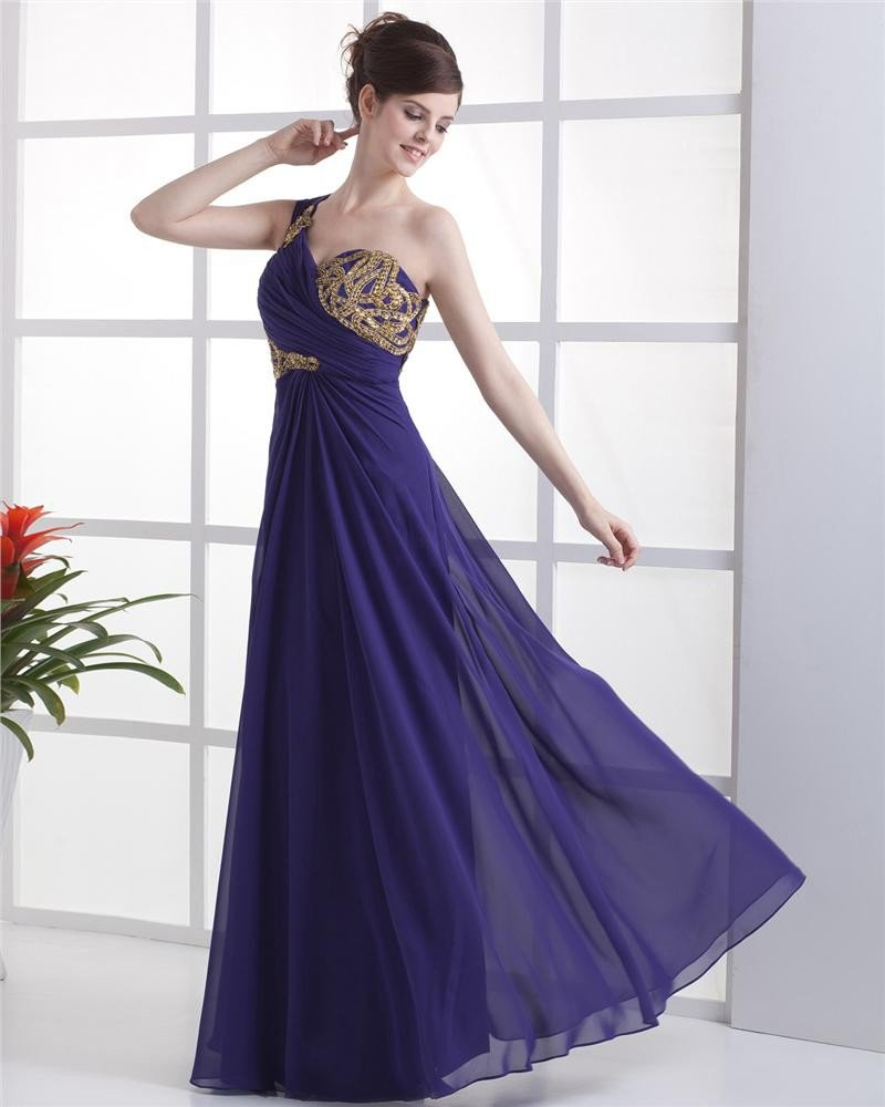 Chiffon Applique Beading Ruffle One Shoulder Floor Length Evening Dress