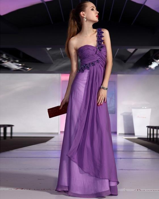 Sexy Ruffle Beaded Chiffon One Shoulder Floor Length Evening Dresses