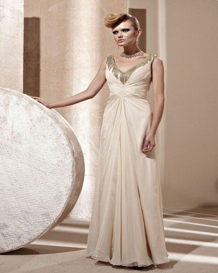 Gorgeous V Neck Ruffle Beaded Sleeveless Floor Length Evening Dresses