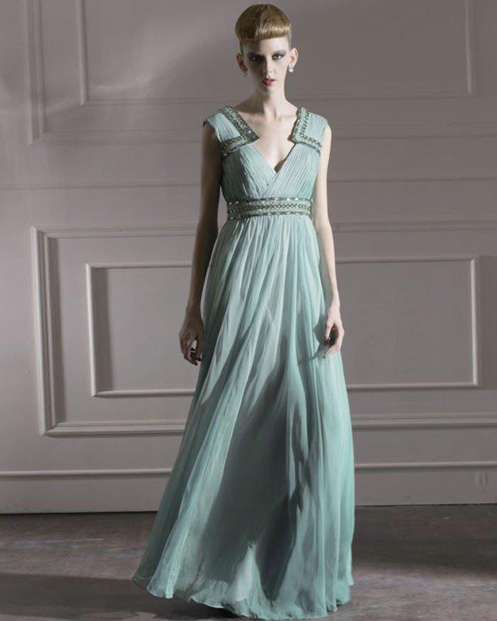 Silk Charmeuse V-neck Bead Floor Length Evening Dress