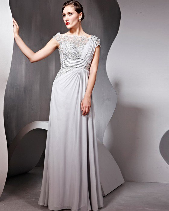 Tulle Chiffon Charmeuse Beading Square Neck Floor Length Evening Dresses