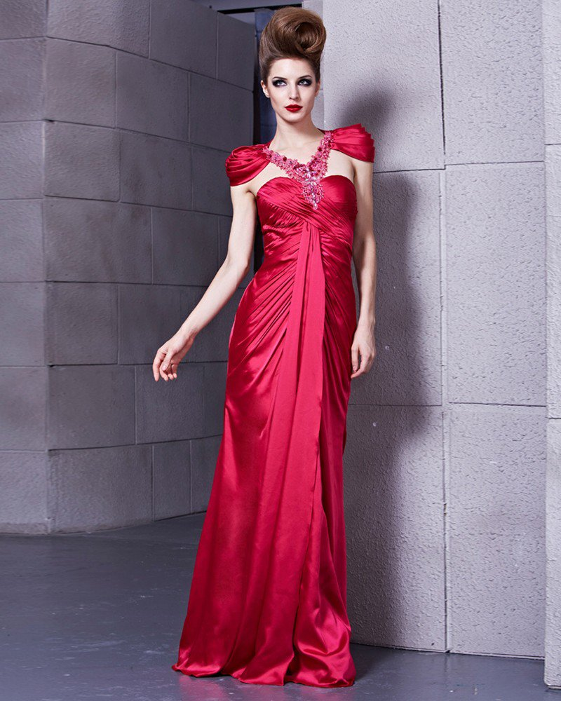 Petal Sleeve V Neck Floor Length Lace Pleated Beading Charmeuse Empire Woman Evening Dress