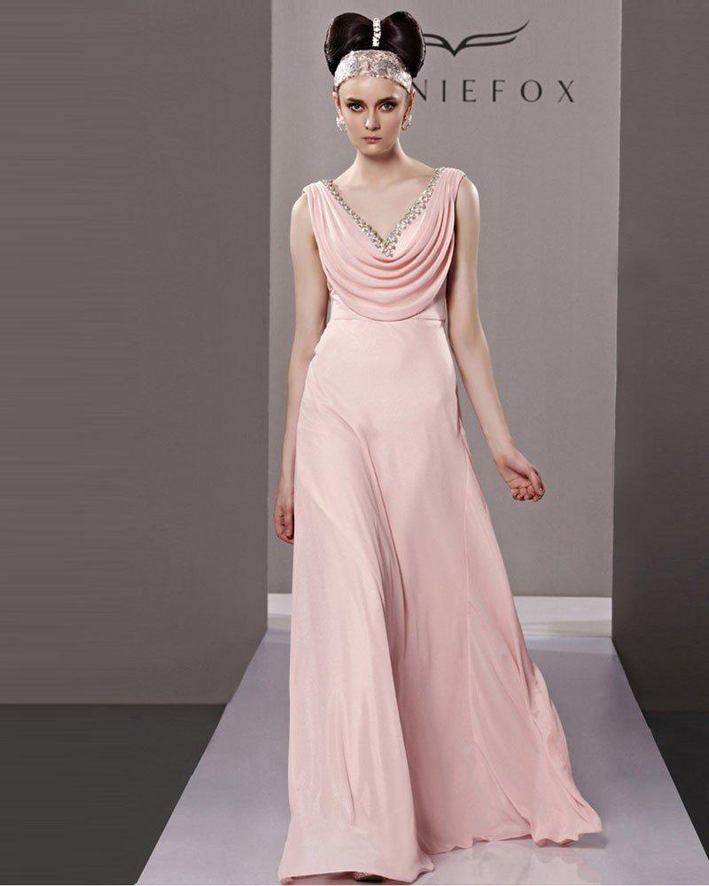 Fashion V Neck Floor Length Beading Chiffon Charmeuse Evening Dress