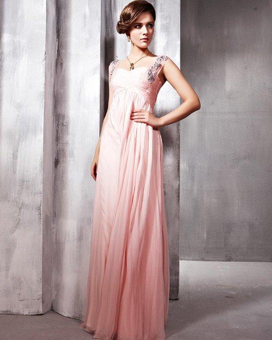 Silk Sequins Tulle Hand Flower Embroidering Beading Shoulder Straps Floor Length Evening Dresses