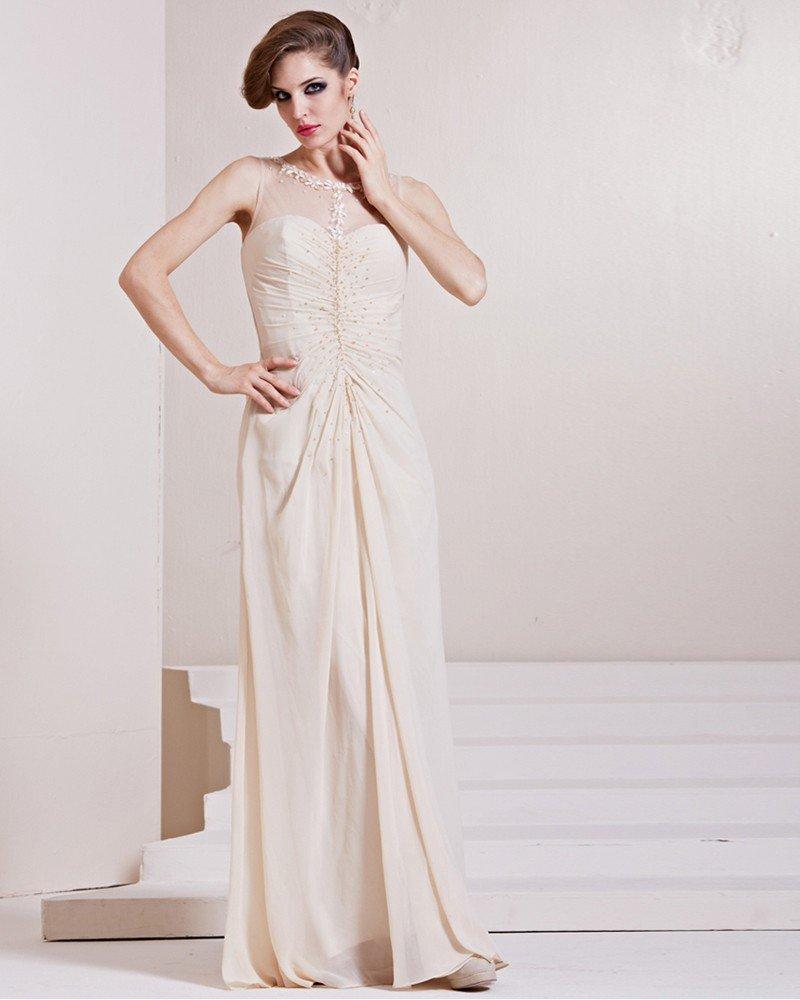 Elastic Silk Like Satin Charmeuse Gauze Sequins Ruffle Jewel Sleeveless Floor Length Pleated Evening
