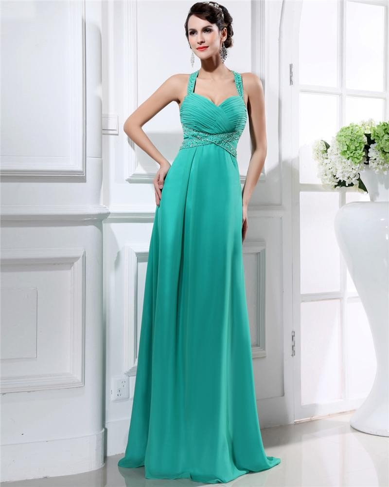 Chiffon Ruffle Shoulder Straps Sweetheart Floor Length Plus Size Evening Dresses