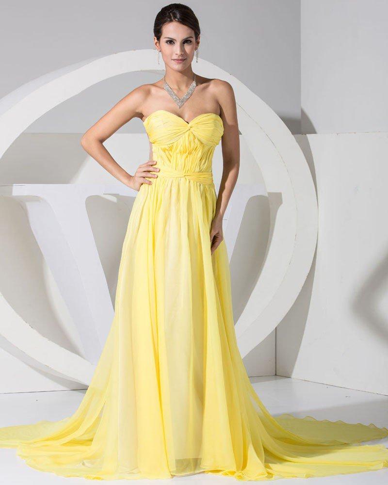 Fashion Chiffon Charmeuse Silk Ruffle Court Train Sweetheart Women Evening Dress