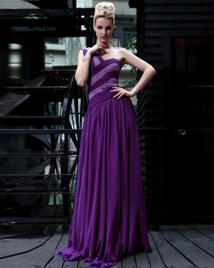 Silk One Shoulder Drape Rhinestone Floor Length Evening Dresses
