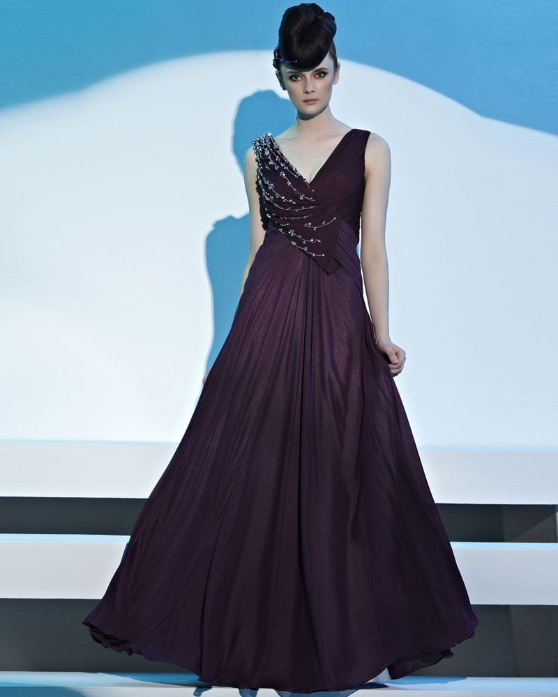 V Neck Beading Sleeveless Back Crossed Floor Length Chiffon Woman Evening Dress