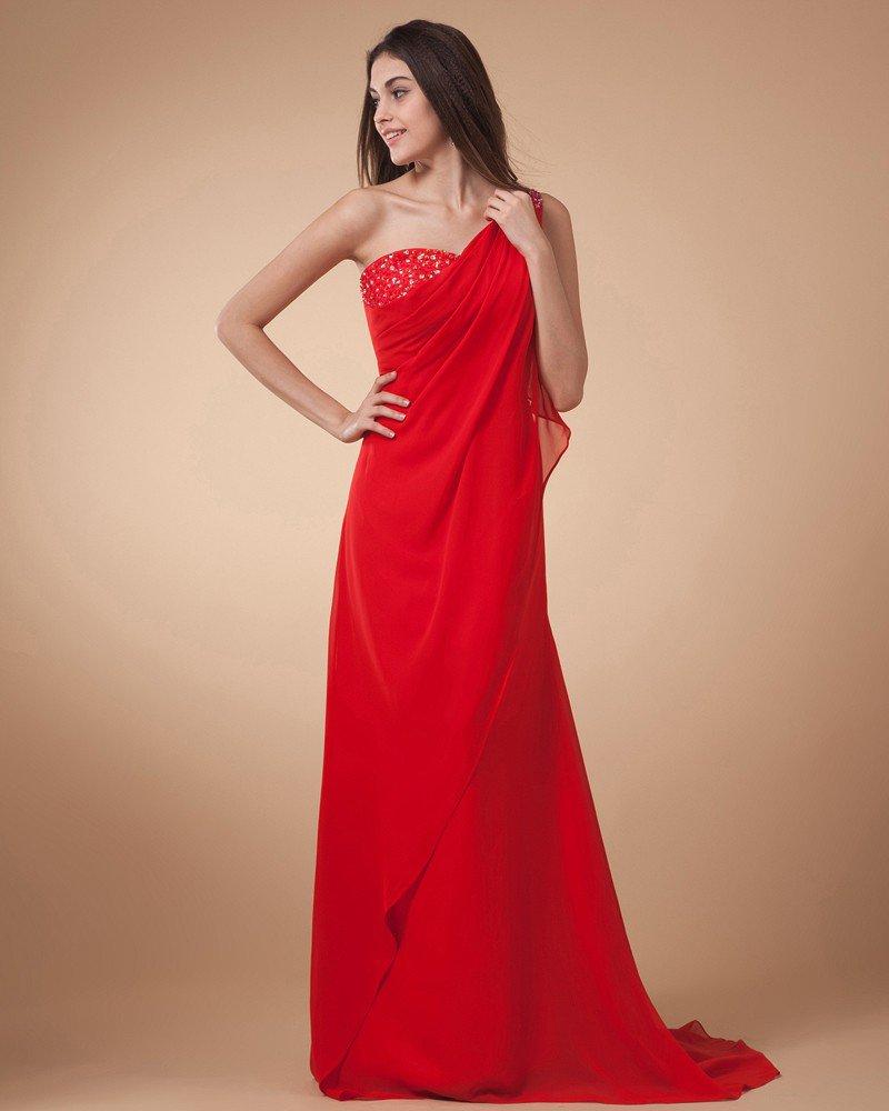 Sheath Sloping Floor Length Chiffon Ruffles Women's Prom Dress