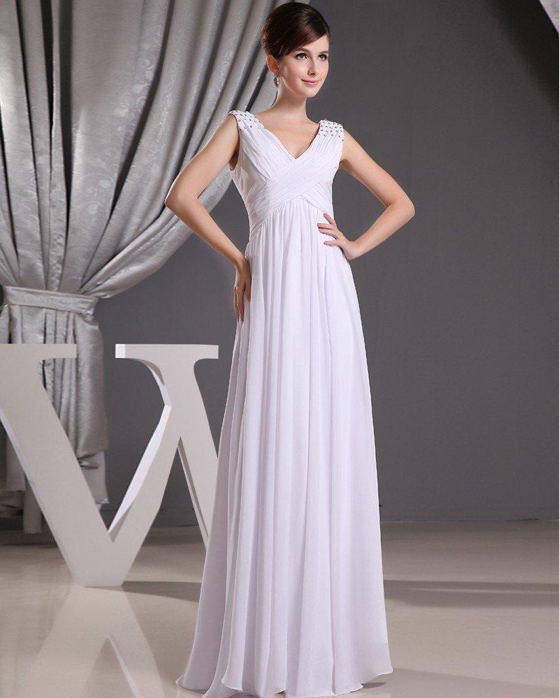 Fashion Chiffon Charmeuse Silk Pleated V Neck Floor Length Sleeveless Women Evening Dress