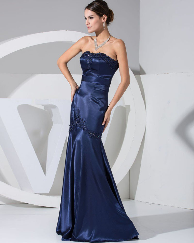 Fashion Satin Silk Applique Court Train Strapless Women Evening Dress