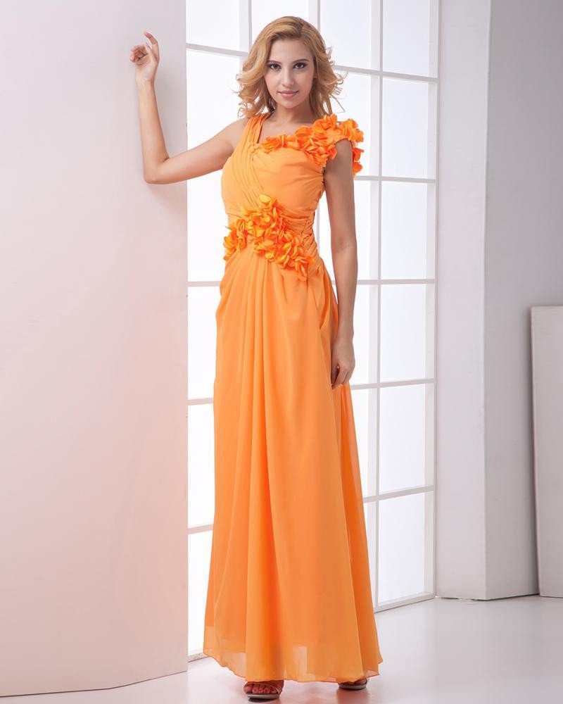 Chiffon Ruffle Oblique V Collar Flower Sleeveless Ankle Length Pleated Evening Dresses
