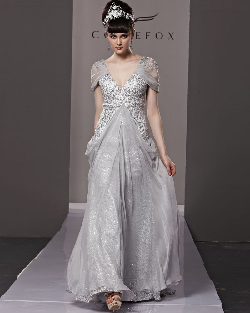 V Neck Beading Ruffle Princess Short Sleeve Backless Floor Length Tencel Woman Evening Dress