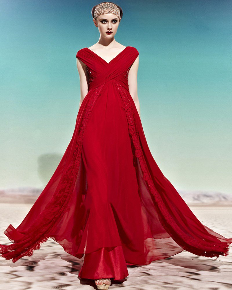 V Neck Beading Sleeveless Crossed Empire Floor Length Charmeuse Woman Evening Dress