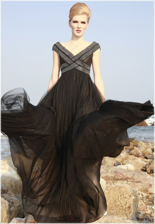 Silk Beading Ruffle V Neck Floor Length Prom Evening Dress
