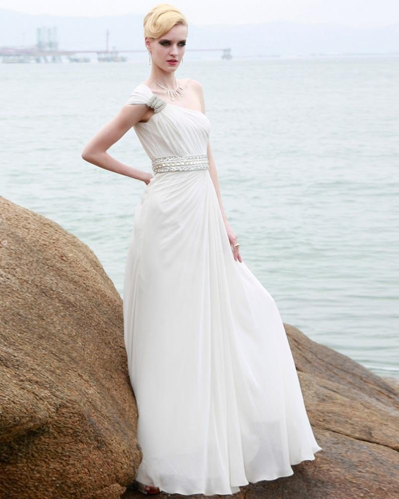 Charmeuse Silk Beading Pleated One Shoulder Floor Length Evening Dresses