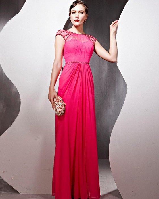 Beaded Tulle Silk Charmeuse Jewel Neck Floor Length Evening Dresses