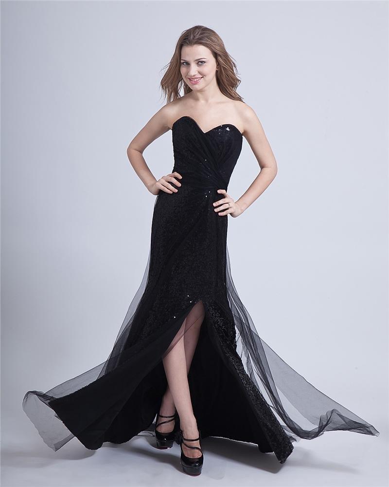 Paillette Yarn Ruffle Sweetheart Floor Length Prom Dresses