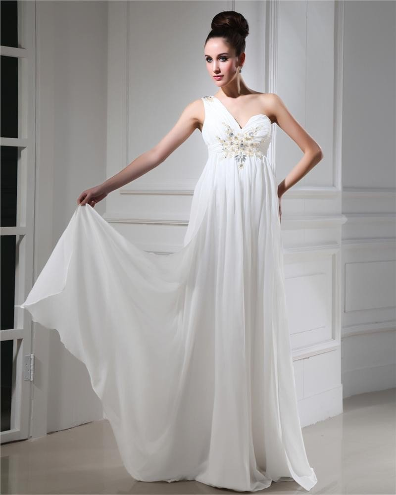 One Shoulder Chiffon Applique Pleated Beading Floor Length Evening Dresses