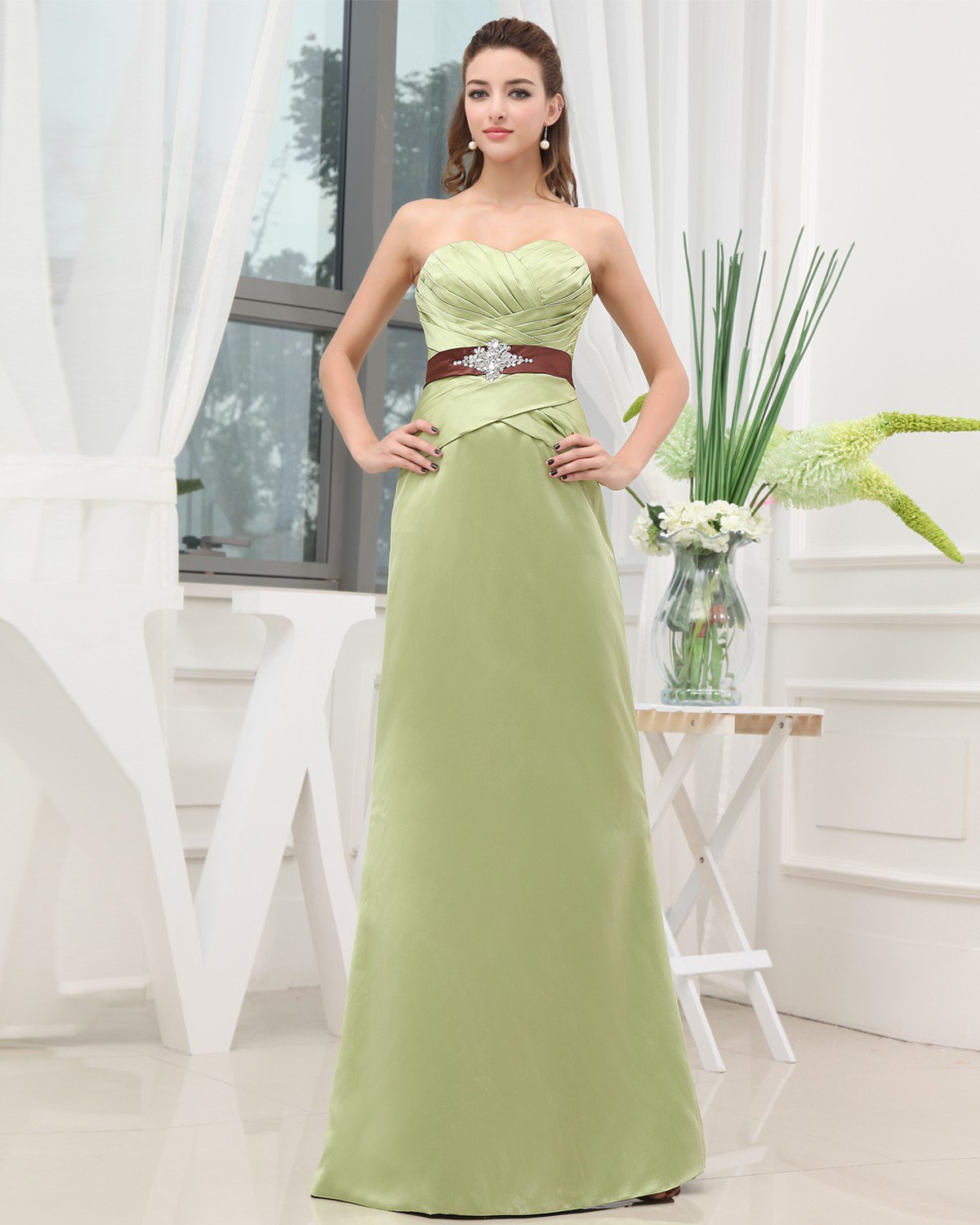 Sweetheart Beading Sleeveless Zipper Floor Length Charmeuse Woman Evening Dress