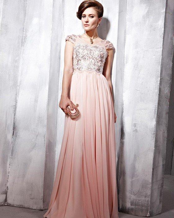 Ruffle Beaded Silk Charmeuse V Neck Floor Length Evening Dresses