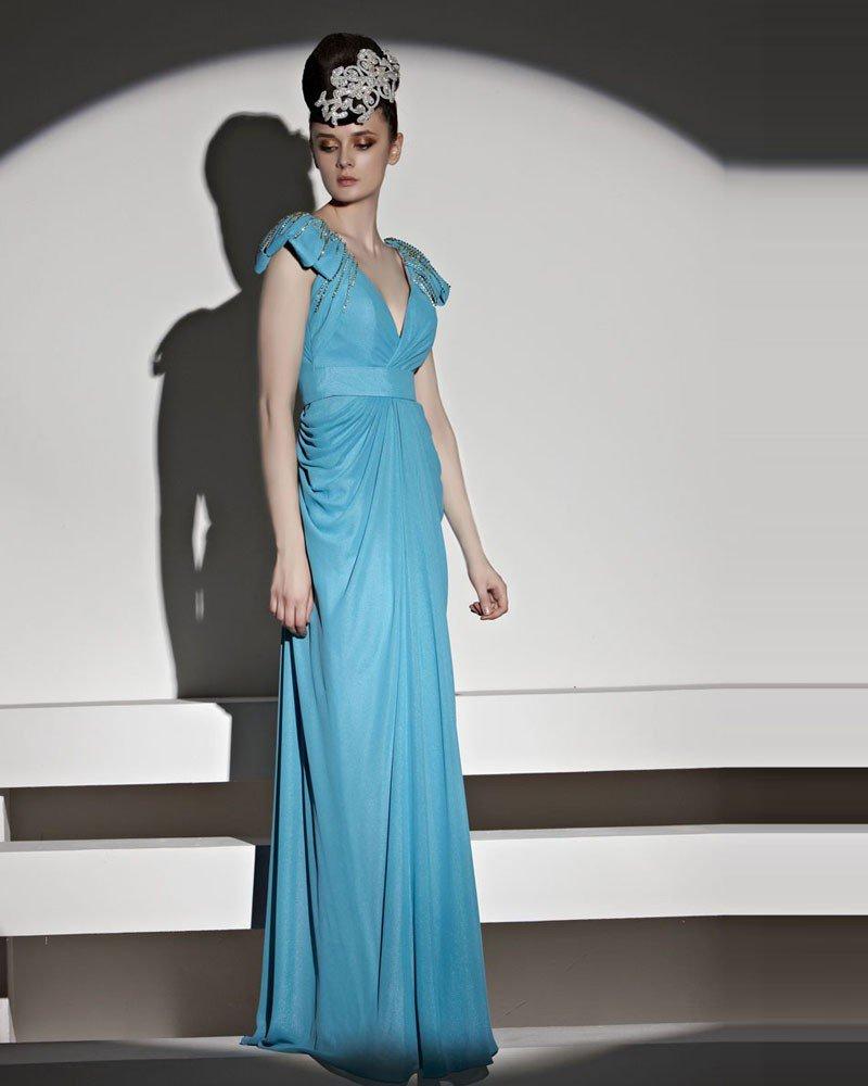 Elegant Beading Floor Length V Neck Tulle Charmeuse Evening Dress