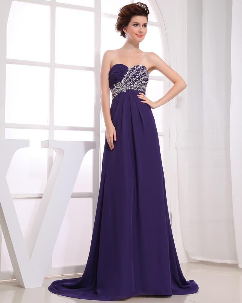 Chiffon Silk Like Satin Silk Ruffle Beading Sweetheart Floor Length Pleated Cocktail Dress
