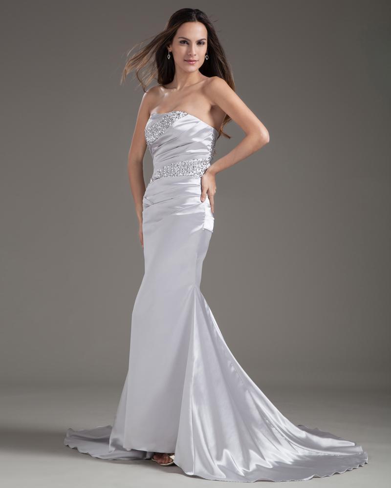 Taffeta Ruffle Beading Floor Length Strapless Evening Dresses