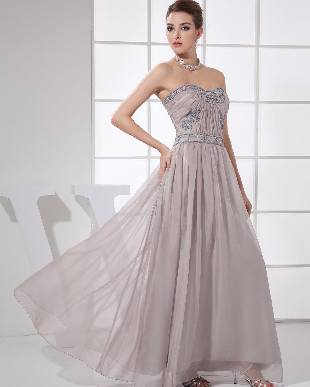 Sweetheart Sleeveless Zipper Floor Length Beading Ruffle Empire Chiffon Silk Woman Evening Dress