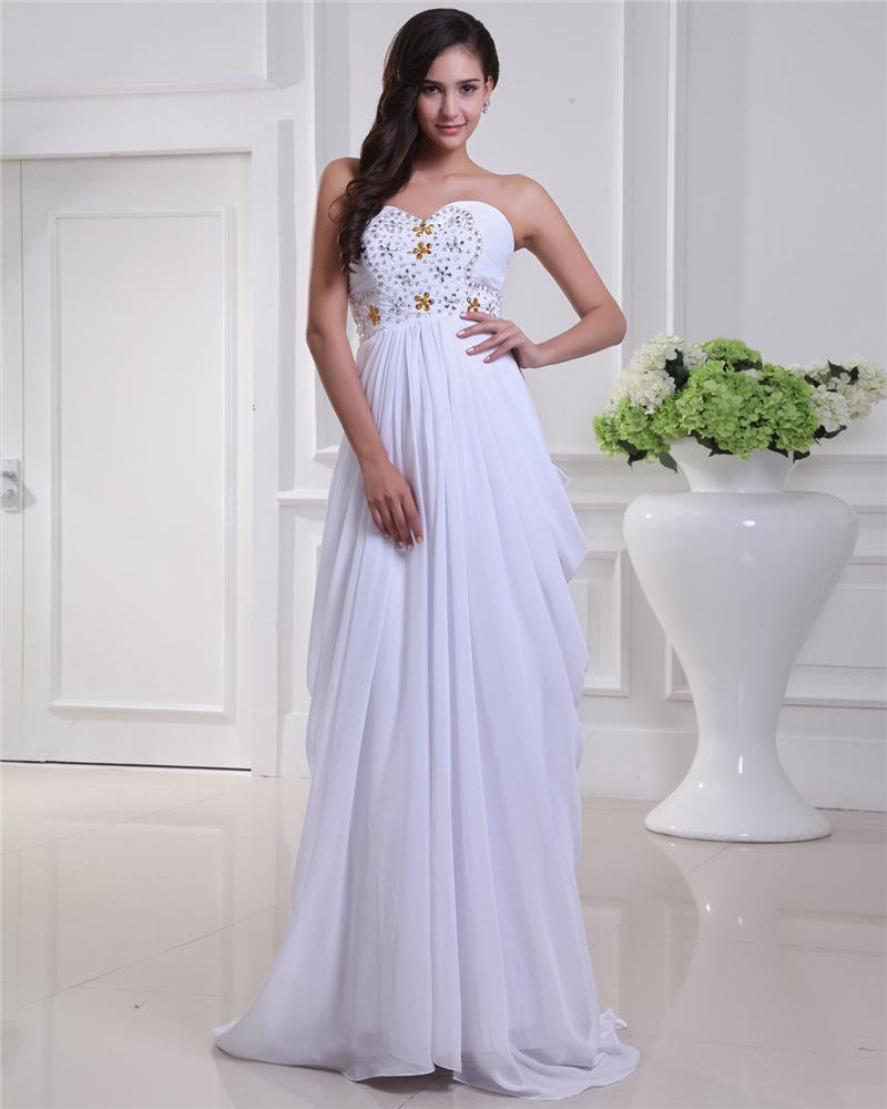 Sweetheart Chiffon Ruffle Beading Floor Length Evening Dresses