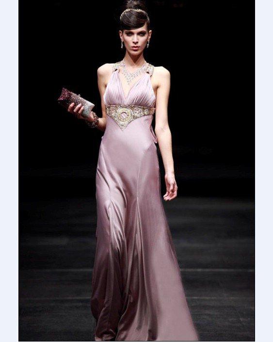 V-Neck Floor-length Silk Imitation Evening Dress