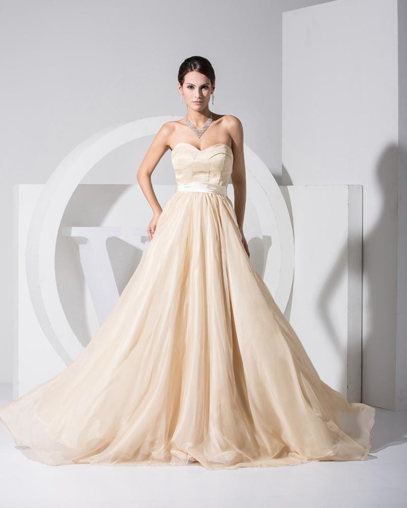 Sweetheart Sleeveless Zipper Floor Length Ruffle Elastic Silk Like Satin Chiffon Silk Woman Celebrit