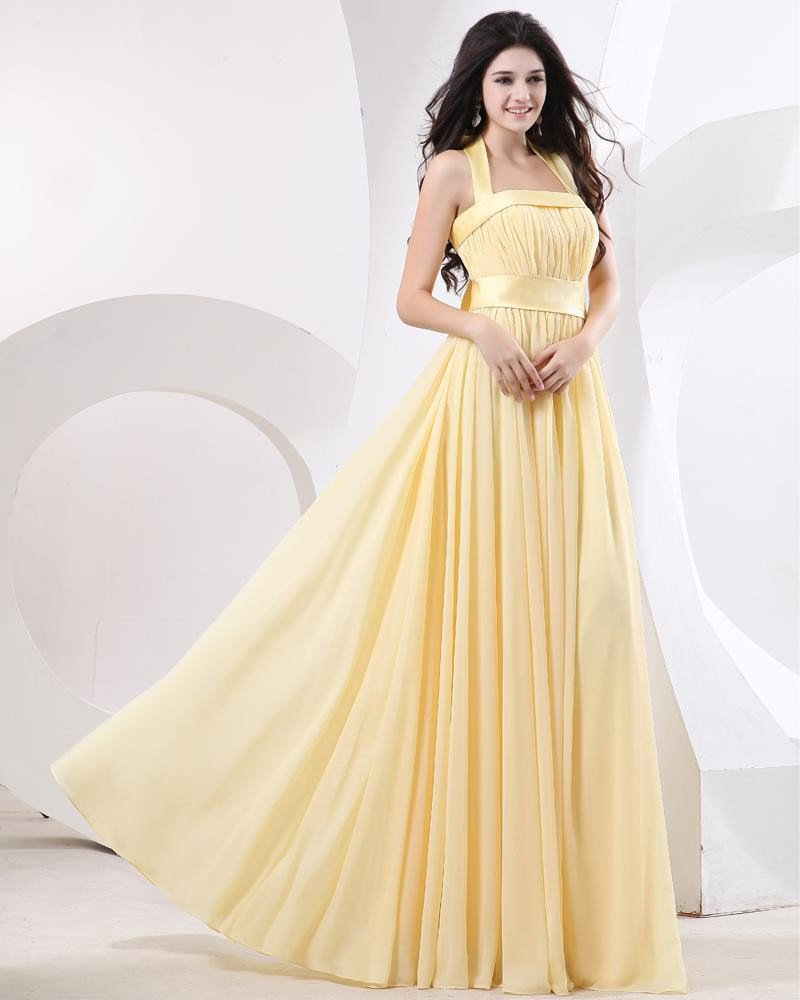 Sweetheart Pleated Chiffon Floor Length Evening Dresses